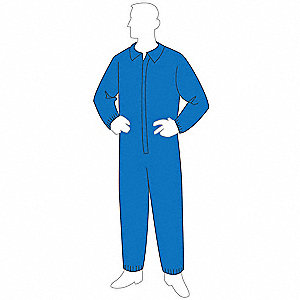 Collared Disposable Coverall with Elastic Material, Blue, 3XL