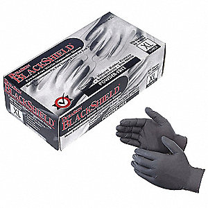 Disposable Gloves,PF,4mil,Blk,PK100