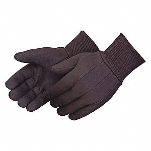 Cotton Jersey Gloves, Knit Cuff, 7 oz. Fabric Weight, Brown, S, PK 12