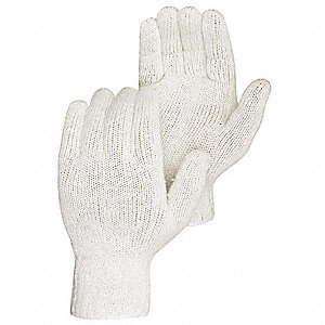 Heavyweight Knit Gloves, Polyester/Cotton Material, White, Glove Size: S