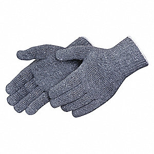 Knit Gloves, Polyester/Cotton Material, Gray, Glove Size: L