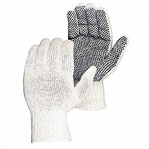 Knit Gloves, Polyester/Cotton Material, White, Glove Size: S