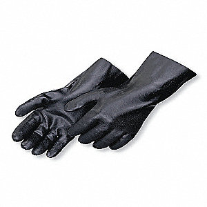 PVC Chemical Resistant Gloves, Interlock Lining, Black, Size L