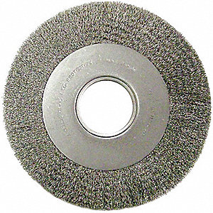 "8"" Crimped Wire Wheel Brush, Arbor Hole Mounting, 0.020"" Wire Dia., 1-1/2"" Bristle Trim Length, 1 EA"