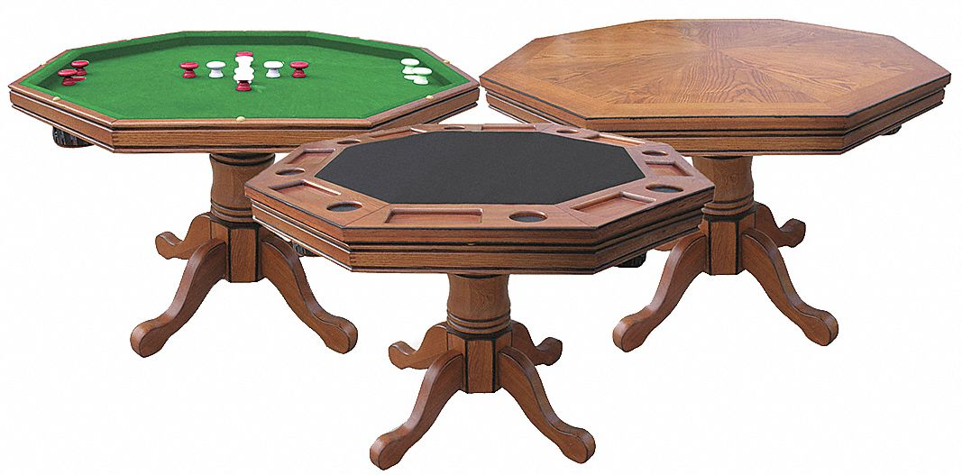 Dark Oak 3:1 Game Table, 33 1/2 in Height, 48 in Diameter
