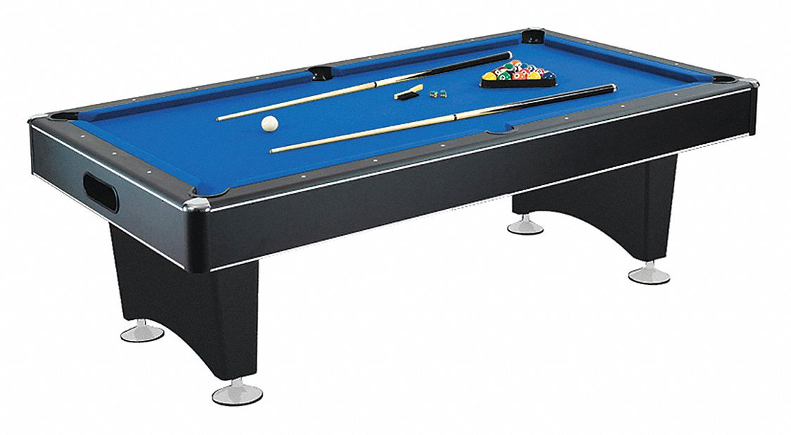 Pool Table, 7 ft., Black, MDF, Wool/Nylon