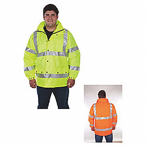 Rain Jacket, High Visibility: Yes, ANSI Class: Class 3, Type R, Polyester, Polyurethane, L, Yellow/G