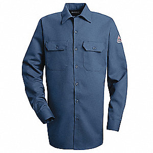 "Navy Flame-Resistant Collared Shirt, Size: XL, Fits Chest Size: 54"", 8.6 cal./cm2 ATPV Rating"