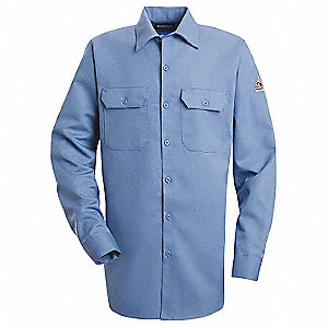 "Light Blue Flame-Resistant Collared Shirt, Size: M, Fits Chest Size: 46"", 8.6 cal./cm2 ATPV Rating"