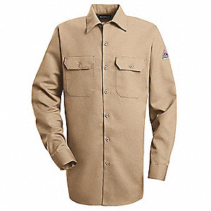 "Khaki Flame-Resistant Collared Shirt, Size: XLT, Fits Chest Size: 54"", 8.6 cal./cm2 ATPV Rating"