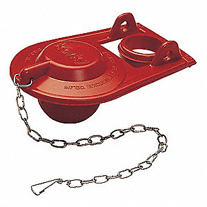 Rubber Toilet Flapper, Red, For Use With Older Style Brass Flush Valves
