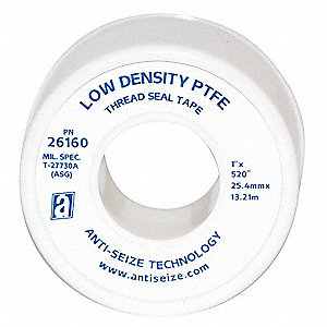 "1""W PTFE Thread Sealant Tape, White, 520"" Length"
