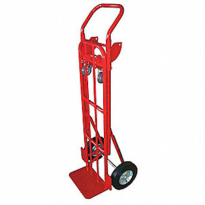 Convertible Hand Truck, 1000 lb./700 lb. Horixontal/Vertical Load Cap., Continuous Frame Flow-Back