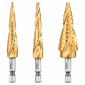 Impact Step Drill Bit Set,1/8-7/8,3 pc.