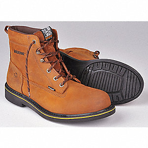 "6""H Men's Work Boots, Plain Toe Type, Leather Upper Material, Brown, Size 10-1/2"