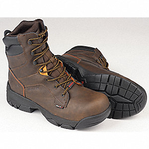 "8""H Men's Work Boots, Composite Toe Type, Leather Upper Material, Brown, Size 11"