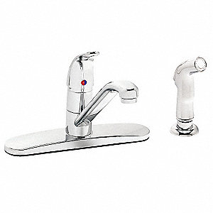 Metal Kitchen Faucet with Side Sprayer, Manual Faucet Operation, Number of Handles: 1