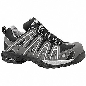"4""H Men's Athletic Work Shoes, Composite Toe Type, Nylon/Syn Leather Upper Material, Gray/Black, Siz"