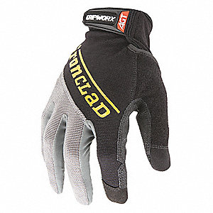 Box Handling Mechanics Gloves, Silicone Printed Synthetic Leather Palm Material, Black, M, PR 1