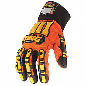 General Utility Mechanics Gloves, Synthetic Leather/PVC Dots Palm Material, Orange/Yellow, S, PR 1