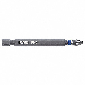 Power Bit,1/4 x 3 In,#2 Point,PK100