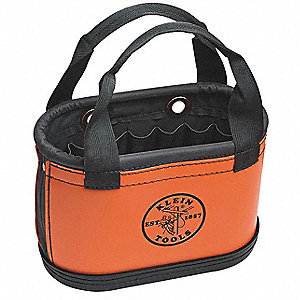Tool Storage Bucket, Orange Plastic Exterior, Denier Polyester Interior, Polypropylene Bottom