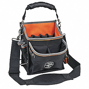 Canvas Tool Bag, General Purpose, Number of Pockets: 16, Black
