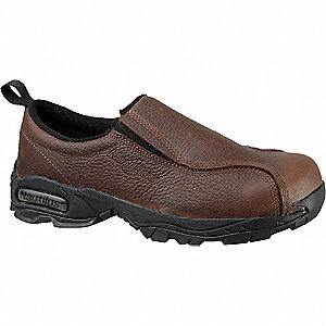 "4""H Men's Work Shoes, Steel Toe Type, Leather Upper Material, Brown, Size 9-1/2M"