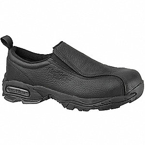 "4""H Women's Work Shoes, Steel Toe Type, Leather Upper Material, Black, Size 5M"