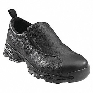 "4""H Men's Work Shoes, Steel Toe Type, Leather Upper Material, Black, Size 11M"