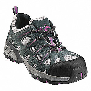 "4""H Women's Athletic Style Work Shoes, Composite Toe Type, Suede Leather and Mesh Upper Material, Gr"