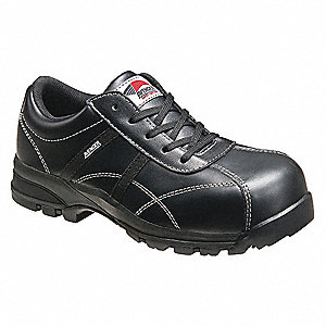 "4""H Men's Work Shoes, Composite Toe Type, Leather Upper Material, Black, Size 14W"
