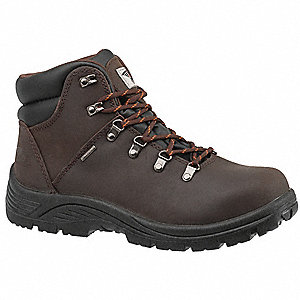 "6""H Men's Hiking Boots, Steel Toe Type, Leather Upper Material, Brown, Size 8-1/2W"