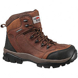 "6""H Men's Hiking Boots, Composite Toe Type, Leather Upper Material, Brown, Size 12W"