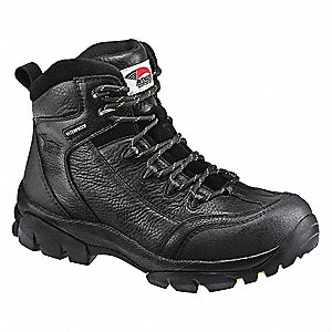 "6""H Men's Hiking Boots, Composite Toe Type, Leather Upper Material, Black, Size 11-1/2W"