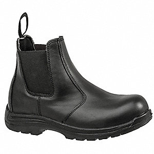 Work Boots,Men,9-1/2M,Slip On,Black,PR