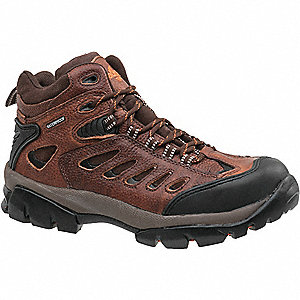 "6""H Men's Hiking Boots, Steel Toe Type, Leather Upper Material, Brown, Size 12W"