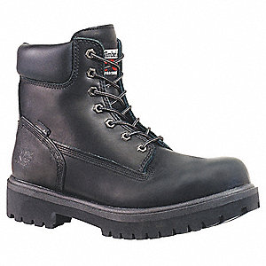 "6""H Men's Work Boots, Plain Toe Type, Leather Upper Material, Black, Size 9-1/2"