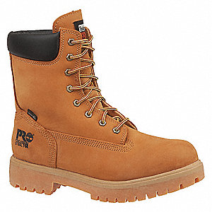 "8""H Men's Work Boots, Steel Toe Type, Nubuck Leather Upper Material, Wheat, Size 11M"
