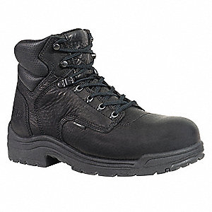 "6""H Men's Work Boots, Alloy Toe Type, Leather Upper Material, Blackout, Size 9-1/2M"