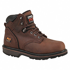 "6""H Men's Work Boots, Steel Toe Type, Leather Upper Material, Brown, Size 7W"
