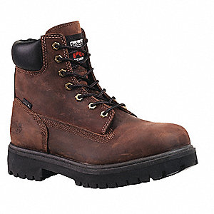 "6""H Men's Work Boots, Steel Toe Type, Leather Upper Material, Brown, Size 10W"