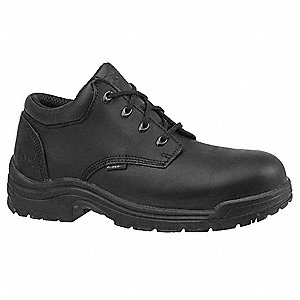 Men's Work Shoes, Alloy Toe Type, Leather Upper Material, Black, Size 7W