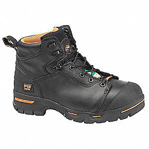 "6""H Men's Work Boots, Steel Toe Type, Leather Upper Material, Black, Size 10-1/2W"