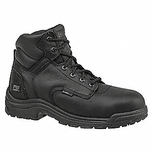 "6""H Men's Work Boots, Composite Toe Type, Leather Upper Material, Black, Size 10W"