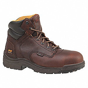 "6""H Men's Work Boots, Composite Toe Type, Leather Upper Material, Camel Brown, Size 9-1/2M"