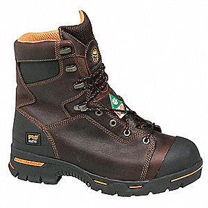 "8""H Men's Work Boots, Steel Toe Type, Leather Upper Material, Briar Brown, Size 7M"