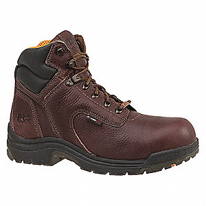 "6""H Women's Work Boots, Alloy Toe Type, Leather Upper Material, Dark Mocha, Size 5-1/2W"