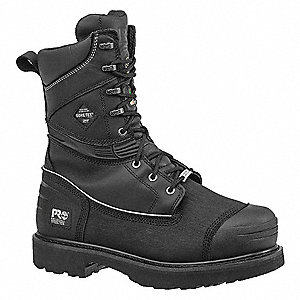 "10""H Men's Mining Boots, Steel Toe Type, Leather Upper Material, Black, Size 7-1/2W"