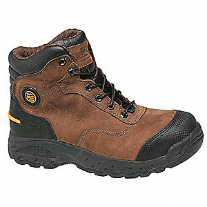 "6""H Men's Work Boots, Alloy Toe Type, Leather Upper Material, Brown, Size 13M"